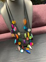 Necklace Bohemian Mother Of Pearl Flower 5 Strand Necklace Dangle Multi Color