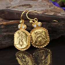 925 Sterling Silver Bee Coin Handmade Design Hook Earrings Fine Jewelry By Omer