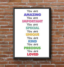 MOTIVATIONAL INSPIRATIONAL POSITIVE YOU ARE A4 PRINT QUOTE  POSTER 280GSM SATIN