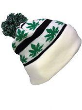 8b1b6021635 Herb Bud Pot Weed Marijuna White Black Green POM Beanie Stocking Watch Cap  Hat