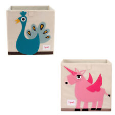 3 Sprouts Foldable Fabric Storage Cube Box Peacock Toy Bin w/ Unicorn Toy Bin
