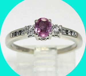 .70CT diamond pink sapphire hearts ring 14K WG oval sz 6.75