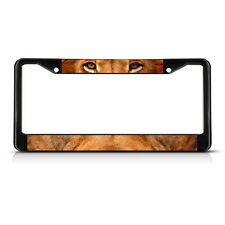 Lion Animal Eyes METAL Black License Plate Frame Tag Holder