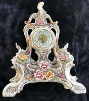 Beautiful Made in Italy Capodimonte Mark Floral Pottery Clock