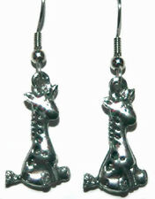 PEWTER GIRAFFE DANGLE EARRINGS ~ 2 CHOICES ~ U PICK