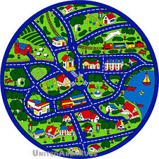 """8x8 Round Rug Play Road Driving Time Street Car Kids City Fun Time Size 7'3"""" New"""