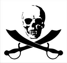 Totenkopf mit Piratenschwertern, Aufkleber, Folienschnitt freistehend