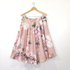 SHOWPO Skirt Size 16 Pink Floral A-Linel Fit and Flare EUC