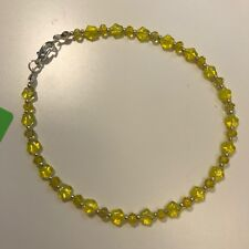 """and Faceted Roundels Silver Tone 10"""" Handmade Ankle Bracelet Yellow Glass Stars"""