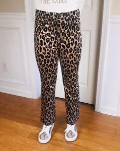 ANN TAYLOR Women Leopard Velvet Flare Crop Pants Size 8