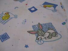 VTG Baby Looney Tunes Flannel Receiving Blanket Tweety Bird Bugs Bunny SLEEPY