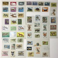 56 Postage Stamps. WILD ANIMALS. From Hungary + Bulgaria. Used