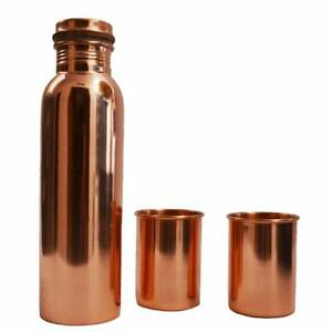 100% Copper Water Bottle With 2 Glass For Ayurveda Health Benefits Leak Proof