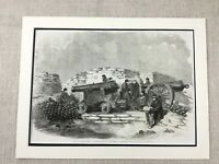 1855 Antique Print Siege of Sevastopol Crimean War Battle Artillery Cannon
