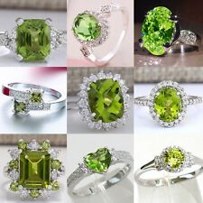 925 Silver Peridot Gemstone Ring Fashion Women Wedding Bridal Jewelry New Sz6-10