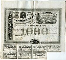 "1863  $1000  Confederate Bond   Watermark ""C. Ansell 1863"""