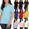 New Ladies Polo Shirt Short Sleeve Womens Plain Pique Classic Top T Shirt Lot