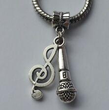 Microphone Music Singing Note Karaoke Band F/European Charm Pendant Bracelet