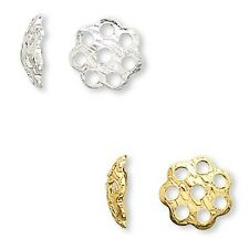 Lot of 100 Flower Shape 6mm Round Loose Spacer Bead End Accent Caps Plated Brass