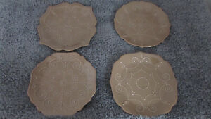 LENOX FRENCH PERLE DESSERT / BREAD PLATES SET/4 COFFEE BROWN NEW