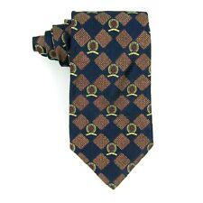 """Tommy Hilfiger Mens Necktie Logo Diamonds Blue Red Gold 100% Silk USA 57""""x4"""""""