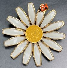 """WEISS Signed Vintage Retro Brooch Pin 2"""" Enameled Daisy Lady Bug Lot1"""