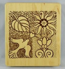 Inkadinkado Galerie Vernissage 4 Square woode Block Mounted Rubber Stamp Peace
