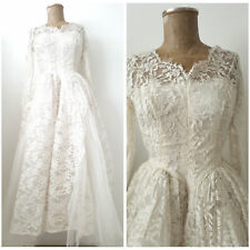Vintage 50s Lace Wedding Dress Size Small Ivory Tea Party Midi Pinup Rockabilly
