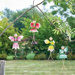 New Flower Fairy on a spring -  Hanging Metal Garden Fairies - Pack of 4