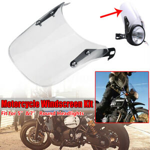 """Clear Universal Motorcycle Motorbike Windshield for 5"""" & 7"""" Round Headlight"""