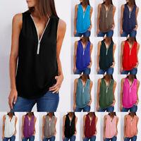Women's Summer Beach Casual Sleeveless V-Neck Long Blouse Shirt Tank Top T-Shirt