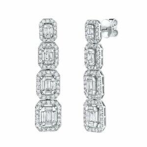 Baguette Diamante Orecchini Smeraldo Forma 14K Oro Bianco Pendenti Naturale 3.19