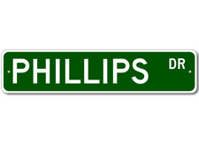 PHILLIPS Street Sign - Personalized Last Name Sign