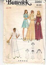 Wedding Bridesmaid Dresses Retro 1970s Simplicity Sewing Pattern 3164 Size 10