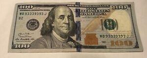 RARE 2013 $100 Bill Fancy Serial Number BINARY REPEATER!!! #MB93339393J