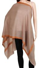 Pure Cashmere Brown Pashmina Embroidered Orange Floral Border Luxury Royal Soft