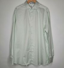 Two-Fold Super Cotton STENSTROMS Fitted Shirt 18 1/2 (18.5 - 47) Green Striped