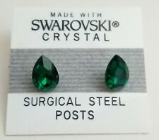 Green Crystal Oval Egg Stud Earrings 10mm Made with Swarovski Elements Gift