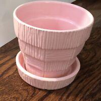 """Vintage McCoy Pottery Flower Pot Attached Base Planter Basket Weave Pink 4 7/8"""""""