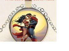 WONDER WOMAN SUPERMAN COMIC pendant Sterling Silver 925 chain necklace Gold box