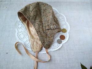 Vintage Spring Toddler Cap Tie up Brown Ear Flap hat Retro Kids Fashion 70s