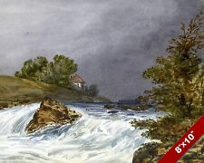 RIVER & HOUSE SCENIC WATERCOLOR LANDSCAPE ART PAINTING REAL CANVAS PRINT