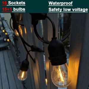 16.4M w/ 15 Sockets Outdoor String Lights LED Festoon Light Chain Wedding Party
