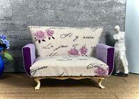 1:12 Dollhouse miniature shabby-chic sofa Purple Rose
