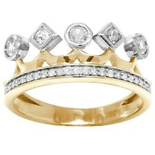 Natural Princess Crown White Sapphire 21 Diamond 9K 9ct 375 Solid Gold Ring