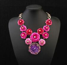 Fashion Women Flower Jewelry Red Transparent Plastic Flower Pendant Necklace