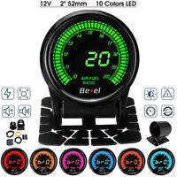 2'' 52mm Car Air / Fuel Ratio Gauge AFR Meter Digital LED Display Black Face 12V