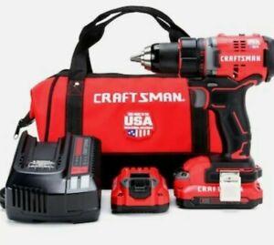 "New CRAFTSMAN V20 Volt Max 1/2"" Brushless Cordless Drill Kit W/ 2 Batteries &Bag"