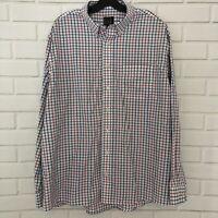 Jos A Bank Traveler's Collection Mens Long Sleeve Button Up Plaid Shirt XL