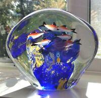 Murano Italy Italian Cased Art Glass Aquarium Sculpture Tropical Fish
